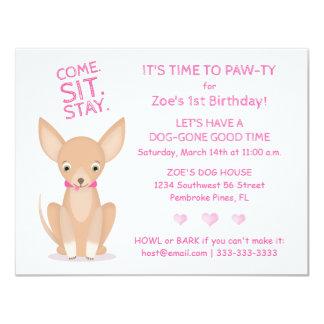 Cartão Bonito na chihuahua cor-de-rosa