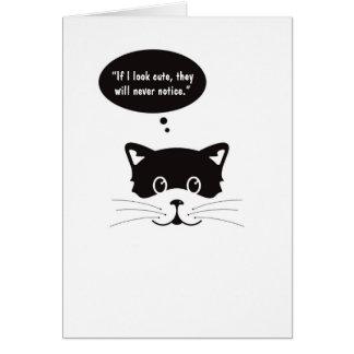 Cartão bonito pensativo do gato preto