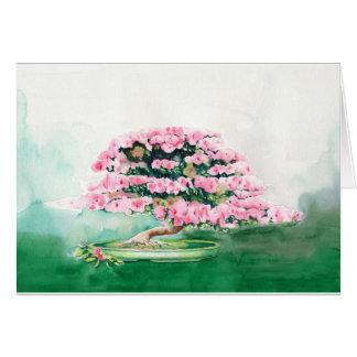Cartão Bonsais cor-de-rosa