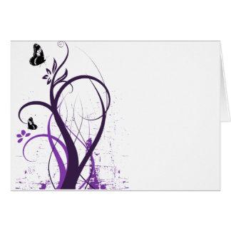 Cartão Borboleta 2 do redemoinho do Grunge - roxo