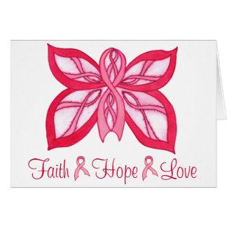 Cartão Borboleta cor-de-rosa da fita - Notecard vazio