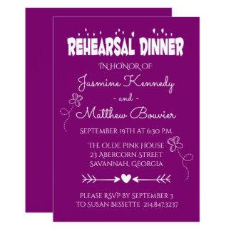 Cartão Borboleta & corações roxos do jantar de ensaio do