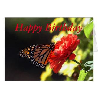 Cartão Borboleta de monarca do feliz aniversario no