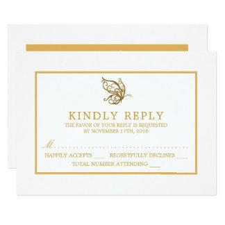 Cartão Borboleta do brilho do ouro do vintage que Wedding