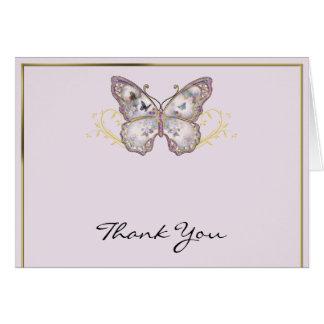 Cartão Borboleta do brilho no obrigado da lavanda você