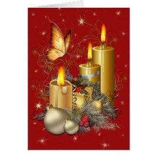 Cartão Borboleta e velas do Natal