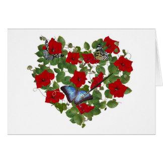 Cartão Borboleta pintada no coração do petúnia