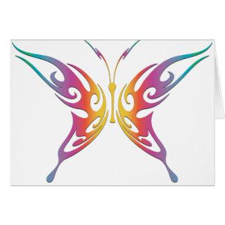 Cartão Borboleta tribal do arco-íris