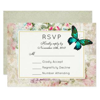 Cartão Borboleta verde na colagem do vintage que Wedding