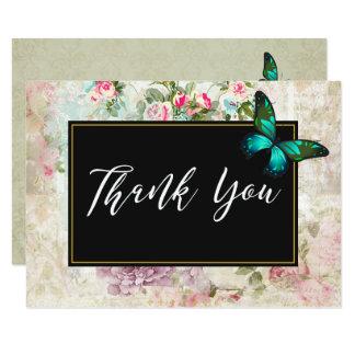 Cartão Borboleta verde no obrigado cor-de-rosa da colagem