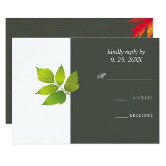 Cartão Bordo minimalista do carvalho que Wedding RSVP
