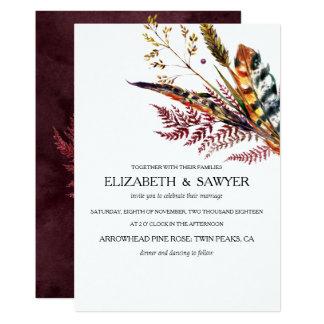 Cartão Borgonha & casamento outono alaranjado de Boho