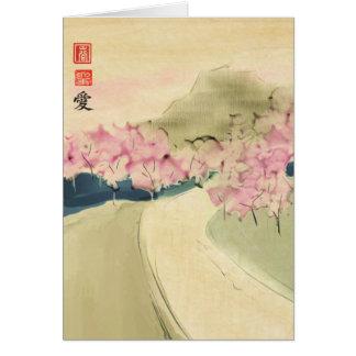 Cartão Bosque da pintura Ca de cumprimento de Digitas das