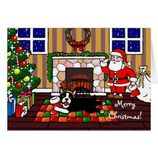 Cartão Boston Terrier & desenhos animados 3 do Natal do