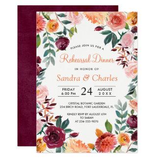 Cartão botânico cor-de-rosa do jantar de ensaio de