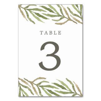 Cartão botânico do número da mesa da aguarela das