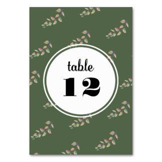Cartão botânico do número da mesa do casamento da