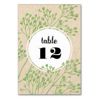 Cartão botânico do número da mesa do casamento do