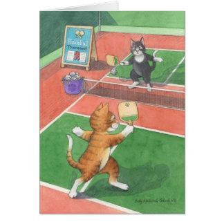 Cartão Botão do aniversário de Pickleball & Tony Notecard