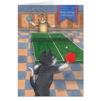 Cartão Botão do aniversário dos gatos de Pong do sibilo &