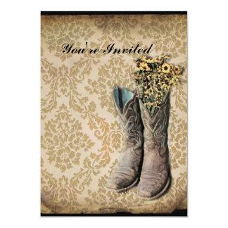Cartão Botas de vaqueiro do país ocidental do wildflower