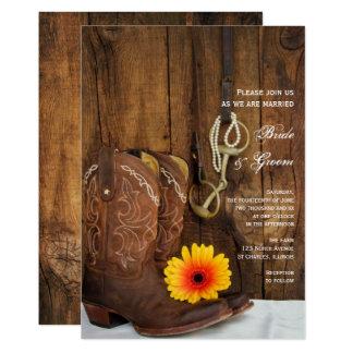 Cartão Botas de vaqueiro, margarida e casamento ocidental
