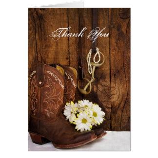 Cartão Botas de vaqueiro, margaridas e obrigado do bocado