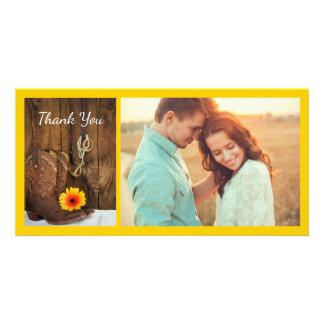Cartão Botas de vaqueiro, obrigado do casamento do bocado