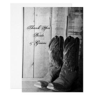 Cartão Botas de vaqueiro rústicas que Wedding o obrigado