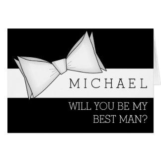 Cartão Bowtie branco no preto você será meu melhor homem