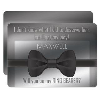 Cartão Bowtie elegante você será meu portador de anel