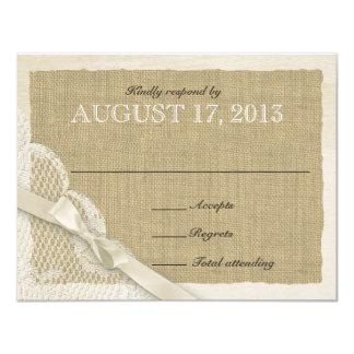 Cartão branco antigo da resposta do país do laço convite 10.79 x 13.97cm