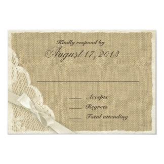Cartão branco antigo da resposta do país do laço convite 8.89 x 12.7cm