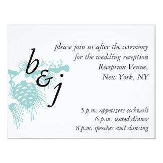 Cartão branco azul da recepção de casamento no convite 10.79 x 13.97cm