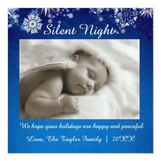 Cartão branco azul de Chrismas da noite silenciosa Convite Quadrado 13.35 X 13.35cm