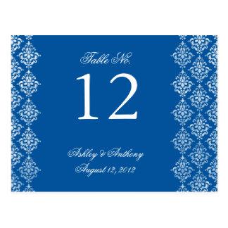 Cartão branco azul do número da mesa do Arabesque