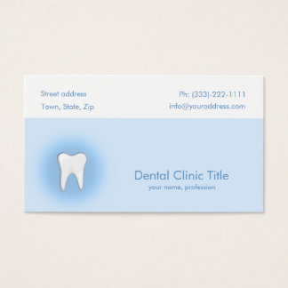 Cartão branco azul simples do dente da clínica