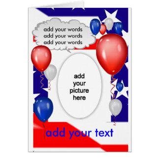 Cartão branco & azul vermelho patriótico