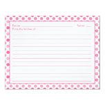 Cartão branco cor-de-rosa simples da receita das convite