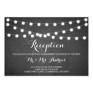 Cartão branco da recepção do quadro das luzes convite 8.89 x 12.7cm