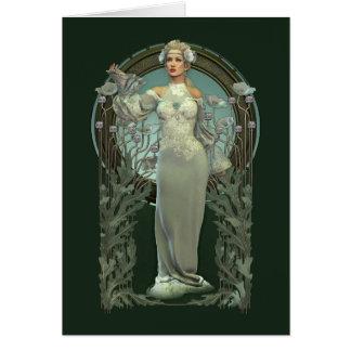 Cartão branco da senhora nota de Nouveau da arte