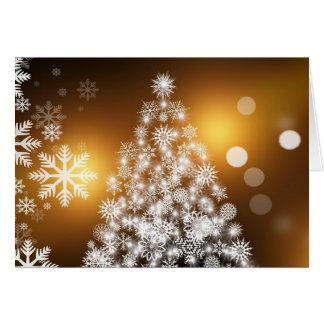 Cartão branco do advento do ouro da árvore de