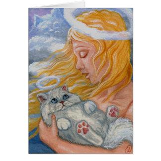 Cartão branco do anjo do gato persa do CÉU do CAT