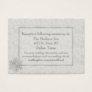 Cartão branco do cerco do casamento do floco de