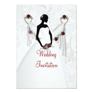 Cartão branco do convite do casamento da silhueta