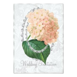 Cartão branco do convite do casamento do Hydrangea