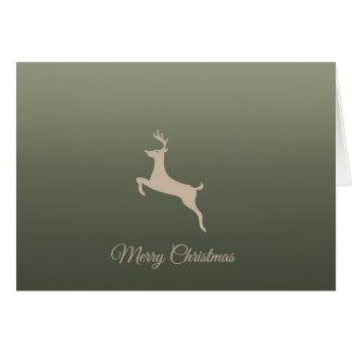 Cartão branco do feriado da prata da rena do Feliz