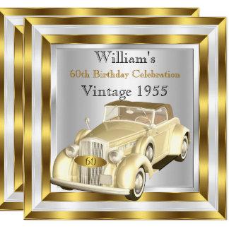 Cartão Branco do ouro da festa de aniversário dos homens