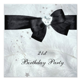 Cartão Branco do preto do partido de aniversário de 21