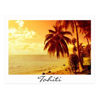 Cartão branco do texto do por do sol de Tahiti